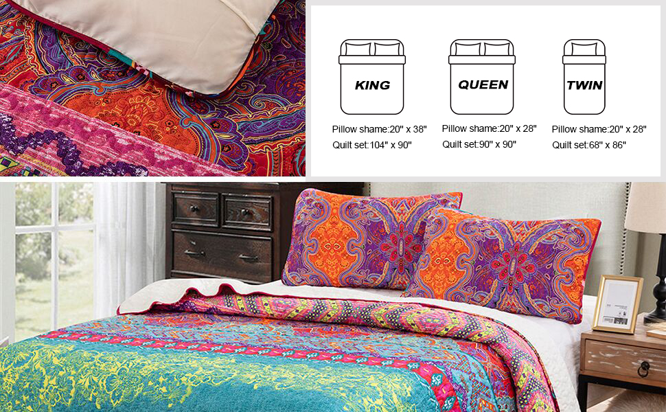Boho Striped Pattern Printed Quilt Coverlet