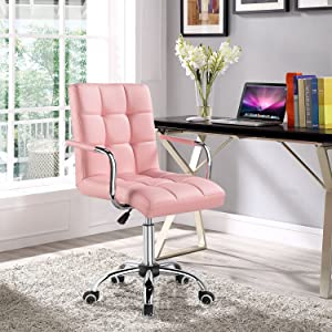 changjingtu - YAHEETECH Desk Chairs With Wheels/Armrests Modern PU Leather Office Chair Height Adjustable Home Computer Executive Chair On Wheels 360° Swivel - Pink