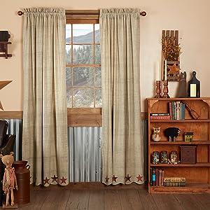Abilene Star Curtain primitive country rustic Americana VHC Brands window panel valance swag prairie