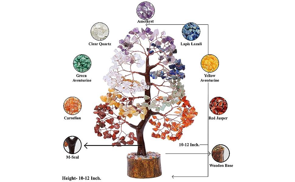 seven mix chakra natural gemstone crystal stone feng shui money tree