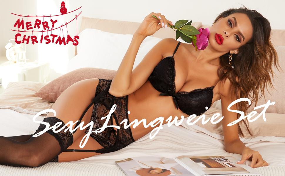 lingerie set for women lace lingerie for women garter lingerie set Valentine Day gift for her