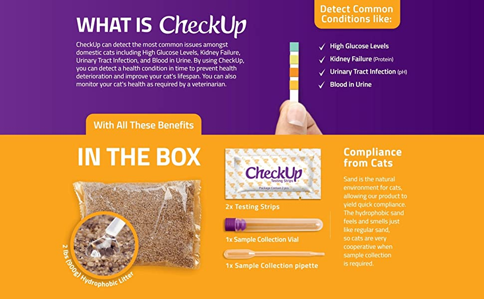 Checkup Cat, Hydrophobic litter, test strips, urine sample