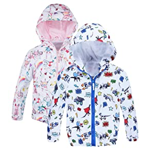 Jingle Bongala Kids Girls Boys Hooded Jacket Cotton Lined Light Windbreaker Cartoon Printed-Dinosaur-3-4Y