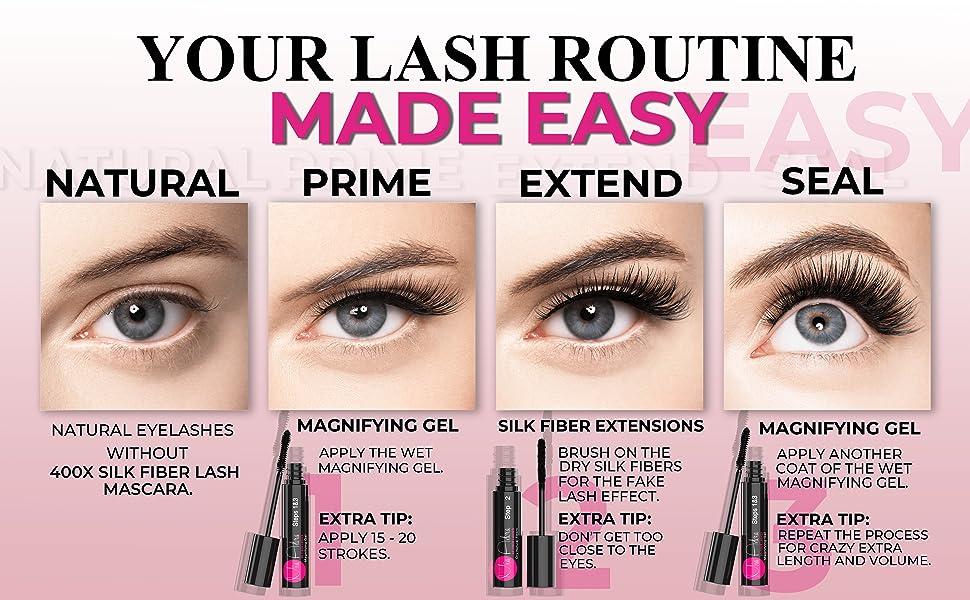 3D Silk Fiber Lash Mascara; Longer Thicker Eyelashes; Mia Adora; Magnifying gel; paraben free