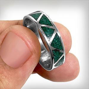 925 Sterling Silver Malachite Gemstone Southwestern Style Wedding Band Ring