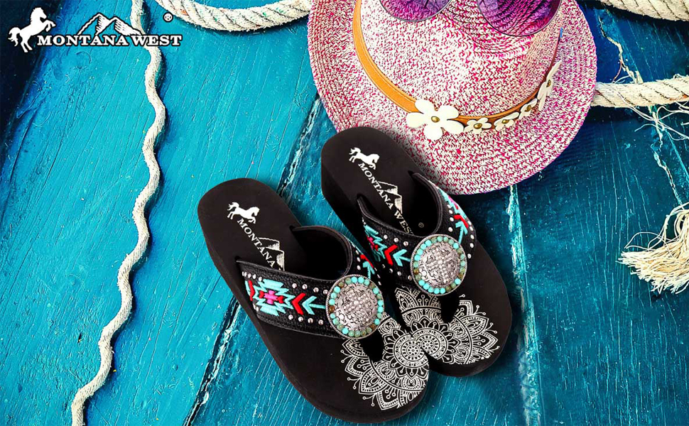 Sandals with Arch Support Women Flip Flop Hand Embroidered Studd Comfort Sandals Rhinestones Sandal