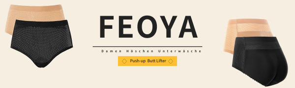 FEOYA 2pc Damen Push-up Butt Lifter H/öschen Unterw/äsche Panty Enhancer Hohe Taille