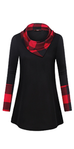 woman cowl neck long sleeve plaid leopard patchwork pullover warm tunic blouses shirts sweater