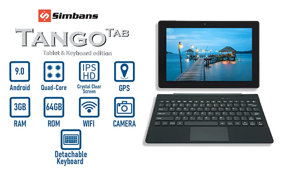 Hero  [3 Bonus Items] Simbans TangoTab 10 Inch Tablet and Keyboard 2-in-1 Laptop, 3 GB RAM, 64 GB Disk, Android 9 Pie, Mini-HDMI, Micro-USB, USB-A, Inbuilt GPS, Dual WiFi, Bluetooth Computer PC – TL93 55f405cf 70e1 4682 ac9d ceaa88b801ba