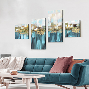 wall art for living room blue abstract