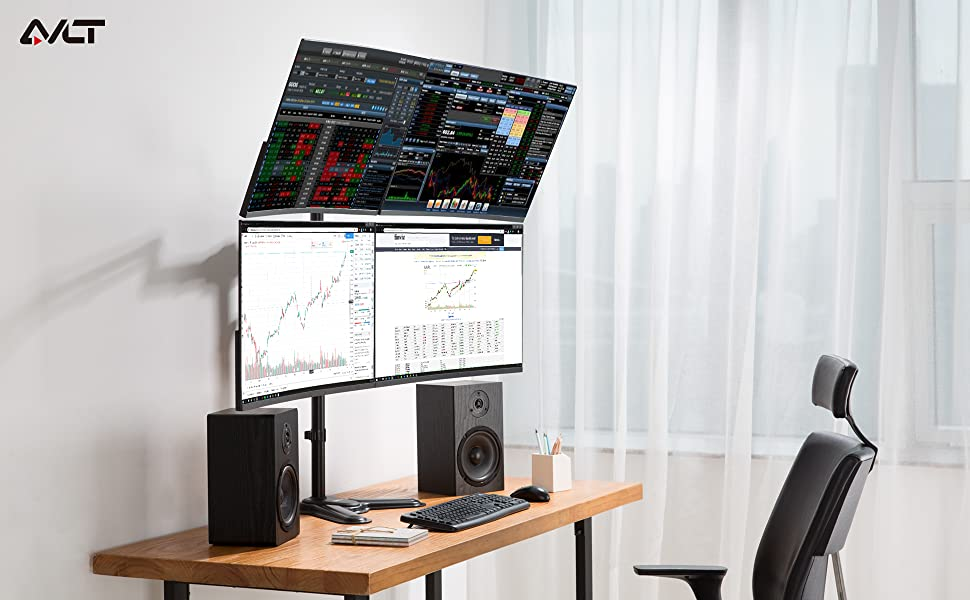 AVLT-Power Free Standing Quad Monitor Stand weight capacity up to 17.6 lbs each, easily lift your