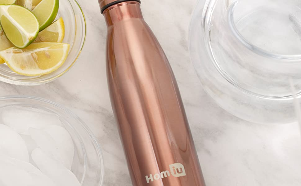 homiu copper water bottle vacuum insulated drinks flask hot or cold