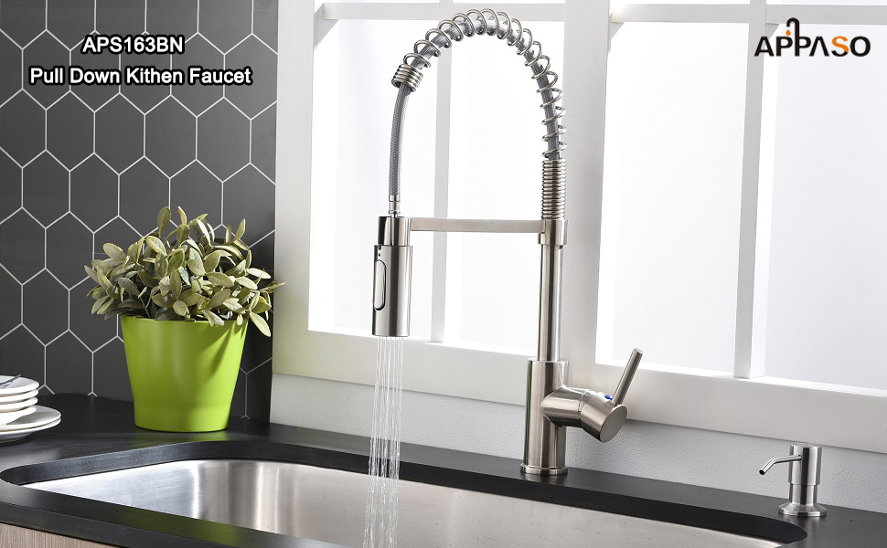 APPASO Commercial Spring  Pull Down Kitchen Sink Faucet with Sprayer, Stainless Steel Brushed Nickel
