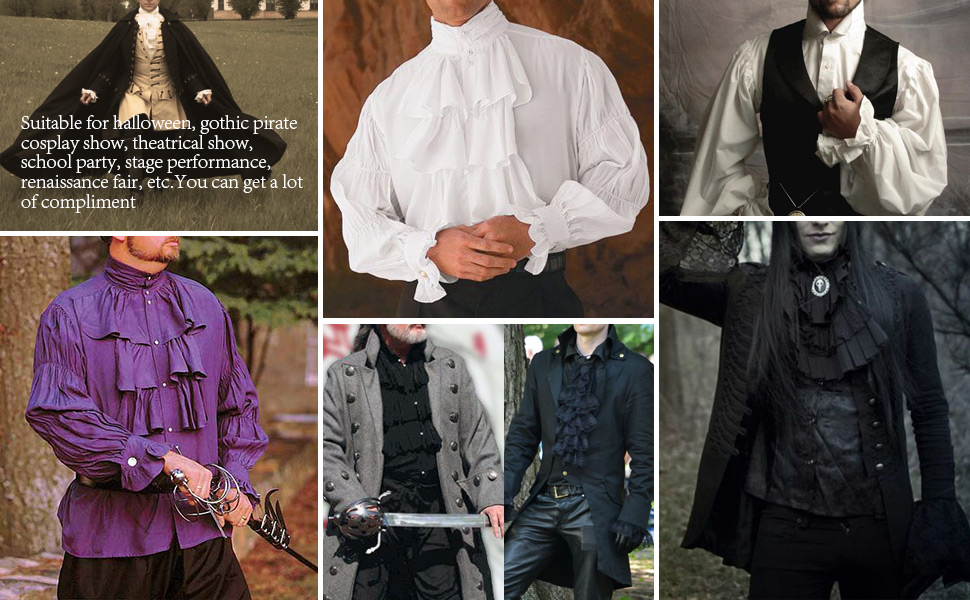 Mens Renaissance Costume Medieval Gothic Pirate Shirt Tops with Removable Jabot