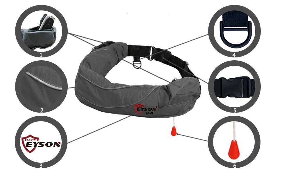 Eyson Inflatable Life Jacket Life Vest Life Ring Belt Pack Waist ...