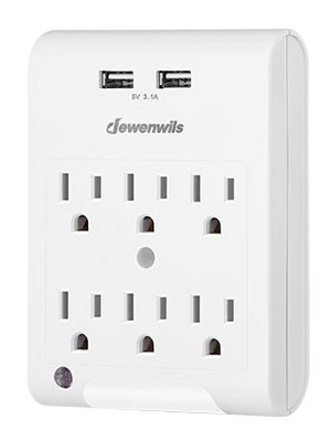 White ETL Certified DEWENWILS Multi-Plug Outlet Adapter with 2 USB Ports 3.1A total 1080 Joules Surge Protection 2 Plugs Wall Extender for Home Office Travel