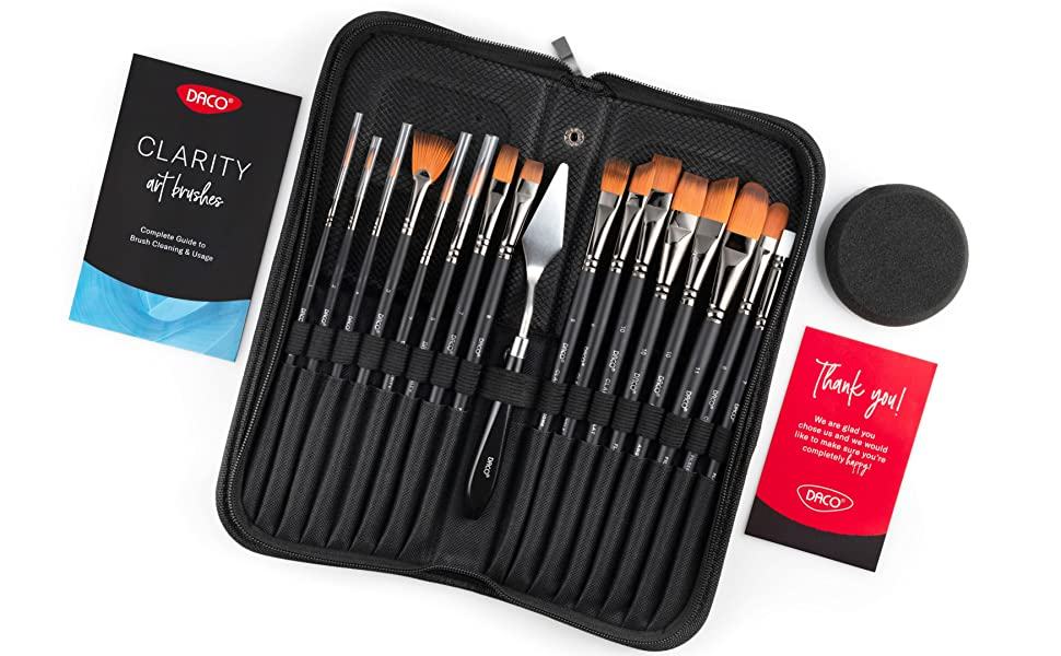 Paint brush set in a carry case