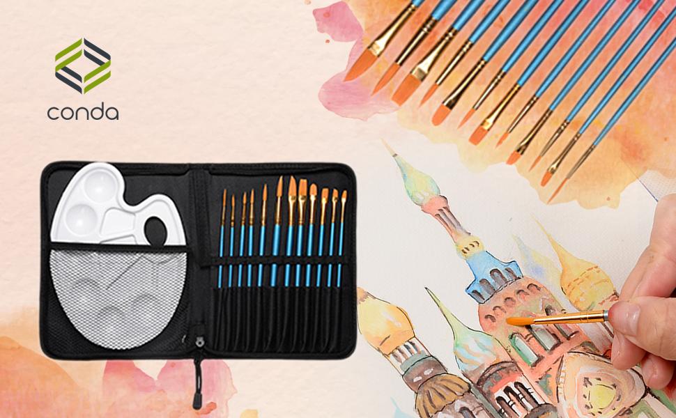 6x Flache Medium Spitze Aquarell Öl Acryl Farbe Marker Stift Leere Leere