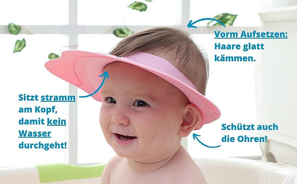 Kinder Duschkappe Shampoo Schutz Kinder Augenschutz Shampooschutz Ohrenschutz