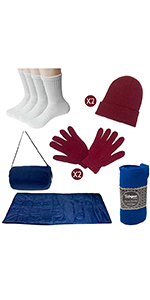 blanket, sleeping bag, hats, gloves, wholesale, bulk, donation, donation kit
