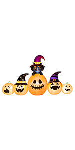 Inflatable Pumpkin with Witch's Cat