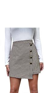 Asymmetrical Hem Button Front Houndstooth Skirt