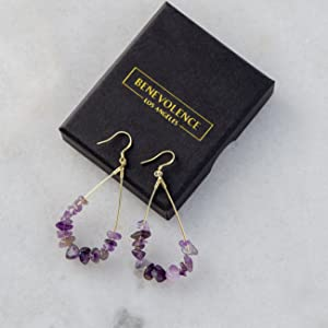 benevolence la amethyst natural stone earrings for women
