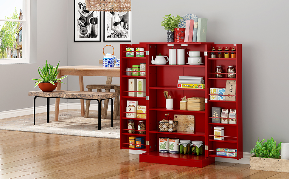 Amazon Com Function Home 41 Kitchen Pantry Farmhouse Pantry Cabinet Storage Cabinet With Doors And Adjustable Shelves Red Kitchen Dining