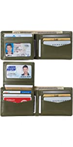 mens deluxe leather bifold wallet passcase id window card holder
