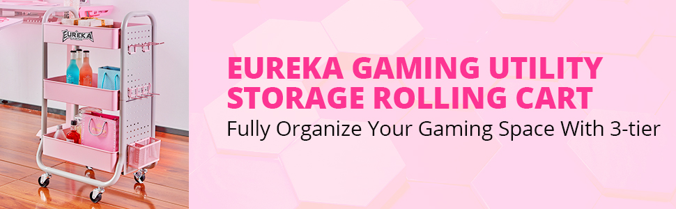 3-Tier Utility Storage Rolling Gaming Cart