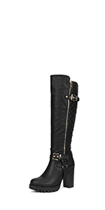 Dream pairs women girl fashion thigh high over the knee high boots wide calf black boots for women