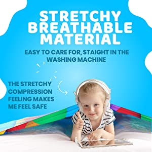 stretchy, breathable material, sleep better, compression, weighted blanket