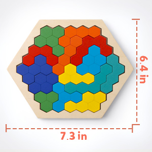 Coogam Wooden Hexagon Puzzle for Kid Adults - Shape Block Tangram Brain Teaser Toy Geometry Logic