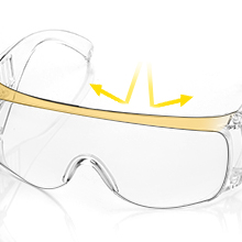 Ergonomically designed, the spectacle frame fits the forehead very well and protects the eyes from