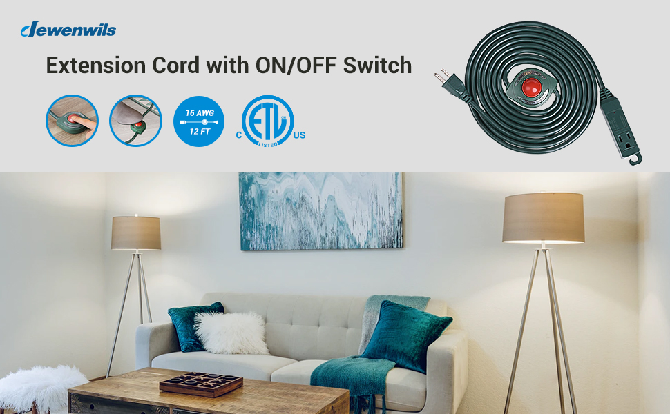 DEWENWILS 12 FT Foot Switch Extension Cord, 3 Grounded Outlets, 16/3C Power Cord with ON/OFF Switch