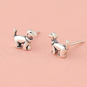 BASSET HOUND DOG SILVER  FILIGREE EARRINGS Jewelry