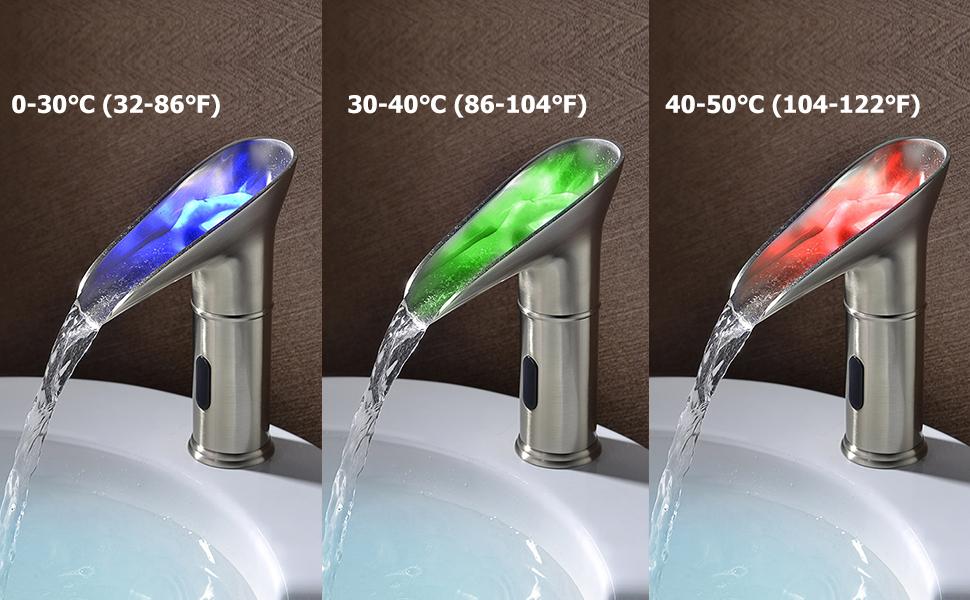 Color changing led light sink faucet