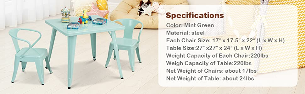 specification of this childrens table and chair set