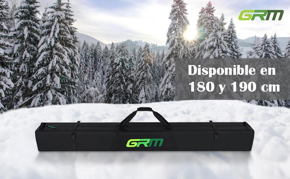 GRM Bolsa de Esquís, 180 cm/190 cm, para Esquís y Bastones de hasta 175 cm/185 cm, Completamente Acolchada, Resistente al Agua, Negro