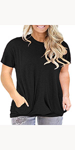 Womens Plus Size Casual Short Sleeve Round Neck Tunic Tops with Pockets Baggy shirts