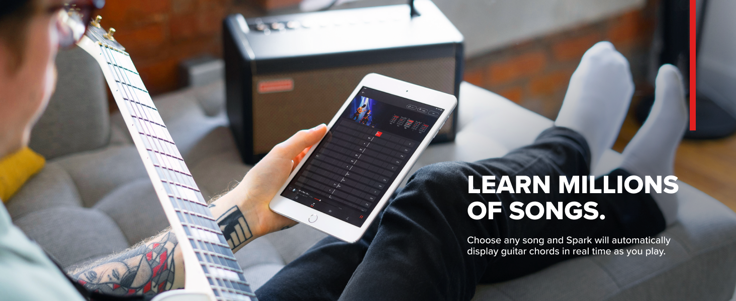 Learn Millions of Songs Choose song Spark will automatically display guitar chords in real time