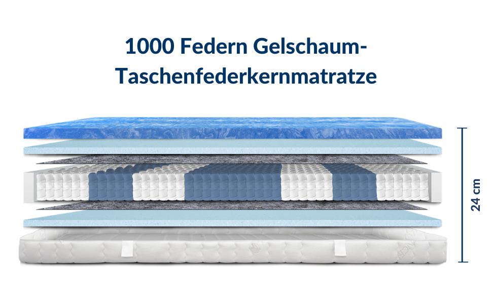 Amazon De Am Qualitatsmatratzen Premium Gelschaum Matratze 90x200cm H2 1000 Federn