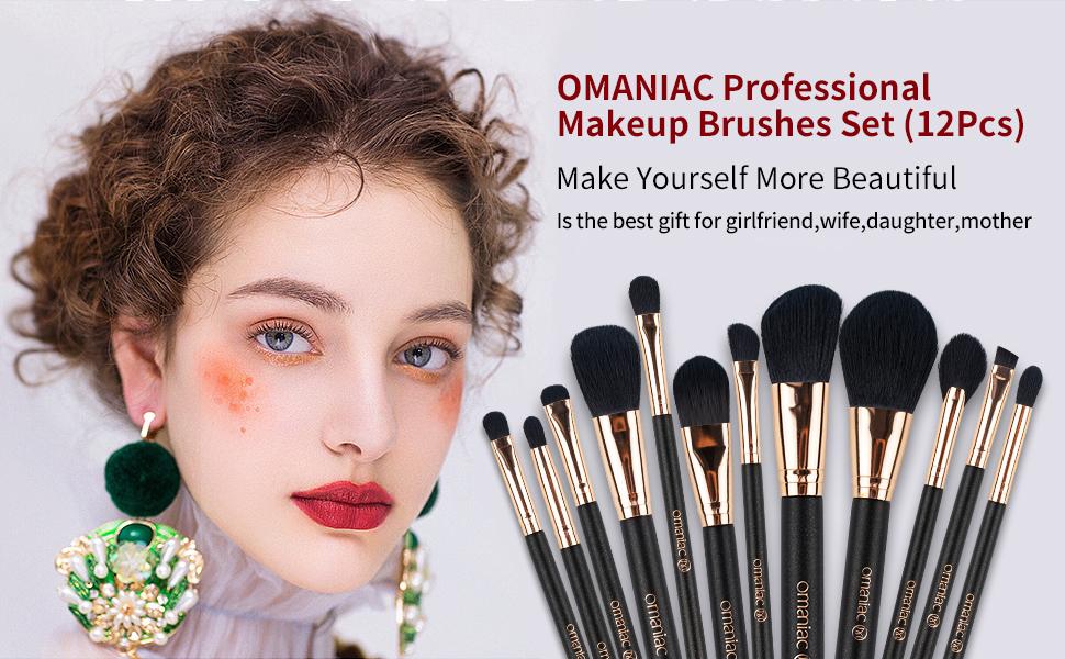 OMANIAC Professional Makeup Brushes Set (12Pcs)