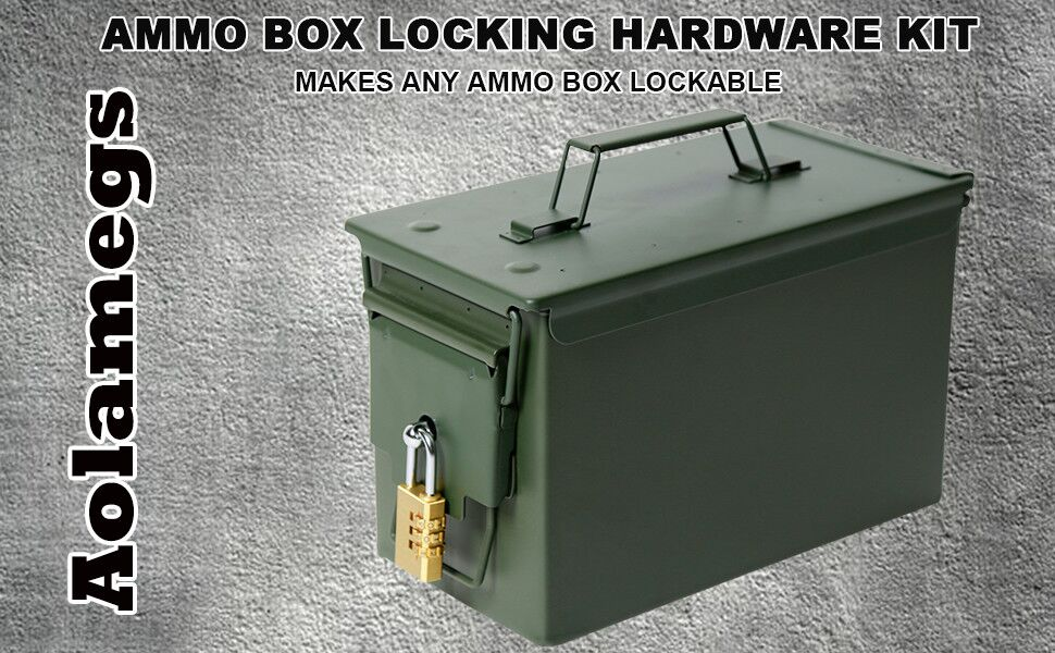 Amazon Com Aolamegs Ammo Box Can Lock Hardware Kit 50 Cal Fat 50 L 30 Cal 20 Mm 40 Mm 10count Sports Outdoors