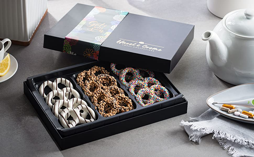 Hazel amp; Creme Chocolate Covered Pretzels  GET WELL SOON Chocolate Gift Box Care Package