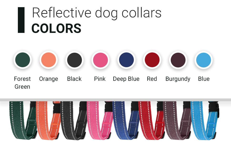 Reflective dog collar decorative outdoors Labrador cat kitty black orange red burgundy green