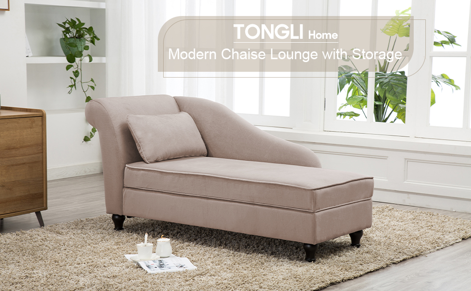 Chaise Lounge Sofa Couch Storage Upholstered for Living Room Bedroom Gray