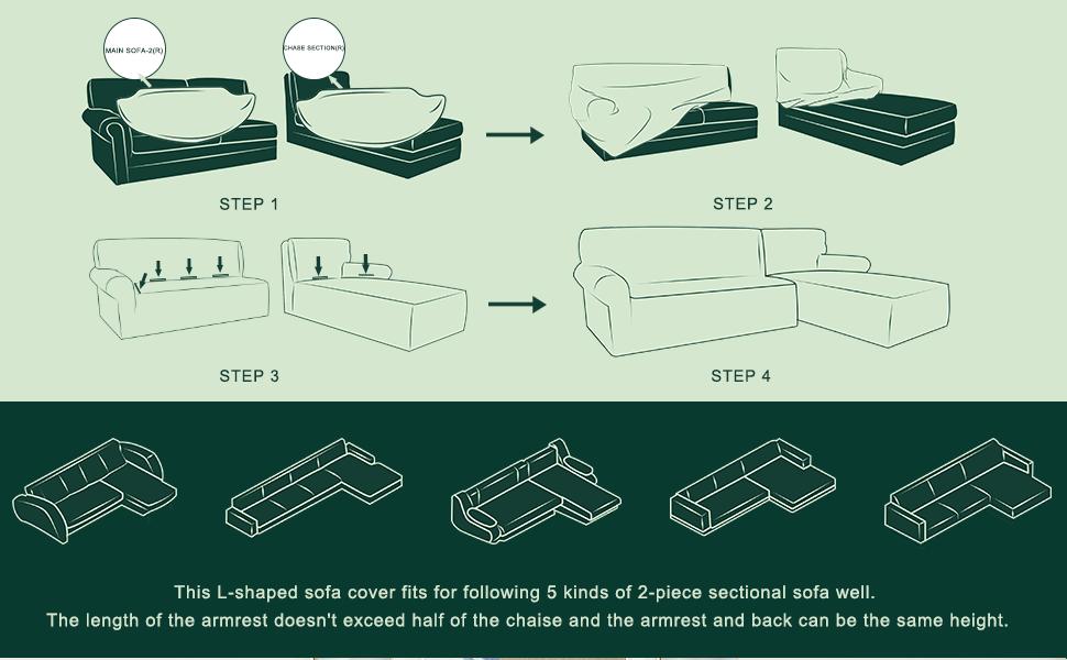 L shape sofa slipcover