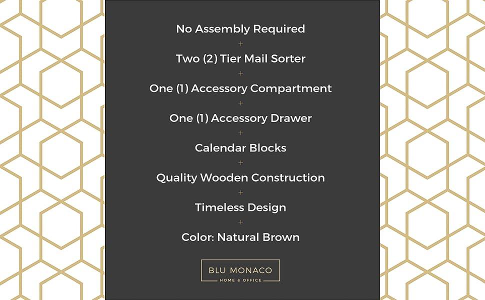 Block Calendar Wooden Mail Organizer