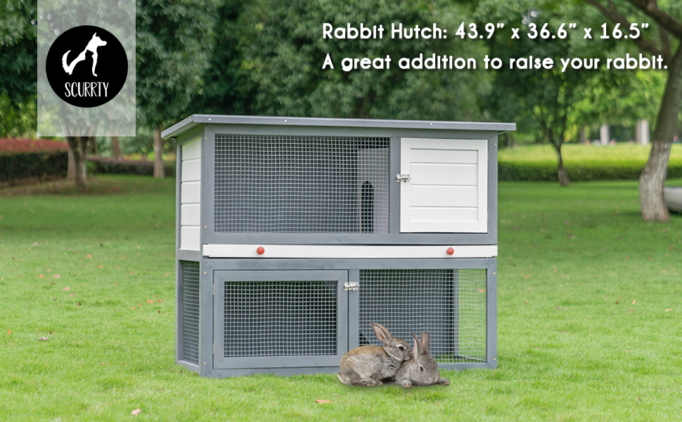 Amazon Com Scurrty 2 Stories Rabbit Hutch Pet Hutch Animal Hutch For Small Animals Wooden Bunny House With Run Bunny House Indoor Outdoor Kitchen Dining
